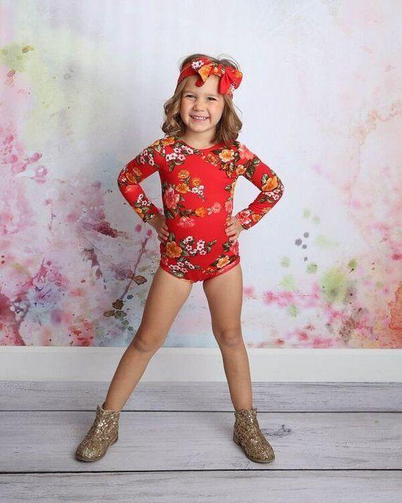 11330f16fe45 Christmas Red Leotard, Floral Leotard, Ballet, Bodysuit, Leo, Baby Girl,  Toddler, Dance Leotard, Gym