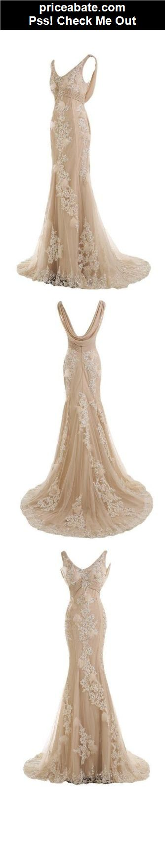 Mermaid Backless Lace Wedding Dress Bridal Gown Custom Size 6 8 10 12 14 16 18 - #priceabate! BUY IT NOW ONLY $128
