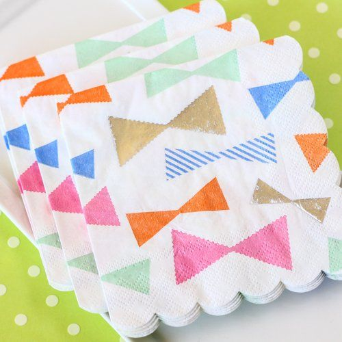 """Paper Tableware - Toot Sweet Bow Pattern 5"""" Party Napkins by Beau-coup (($))"""