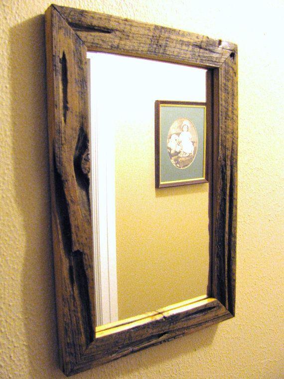 Barn Wood Mirror Rustic Home Decor: Barnwood Mirror, Barn Wood Mirror, Weathered Mirror