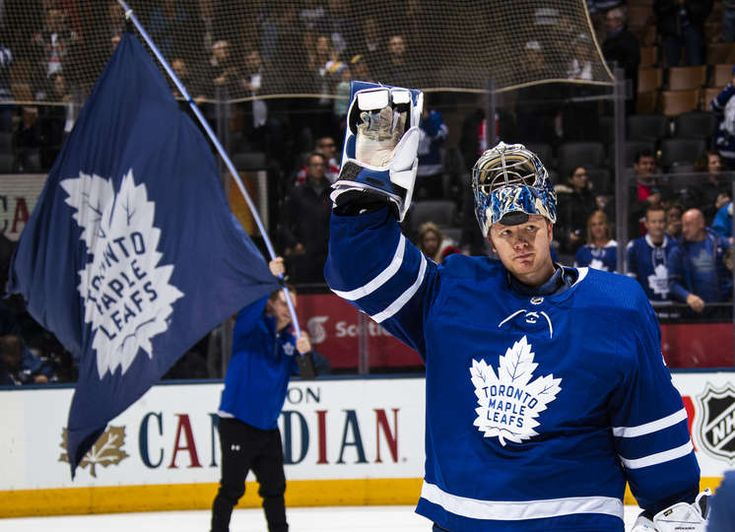 TORONTO, ON - APRIL 7: Frederik Andersen #31 of the Toronto Maple Leafs waves after being named the game's first star with the Leafs defeating the Montreal Canadiens at the Air Canada Centre on April 7, 2018 in Toronto, Ontario, Canada. (Photo by Mark Blinch/NHLI via Getty Images)
