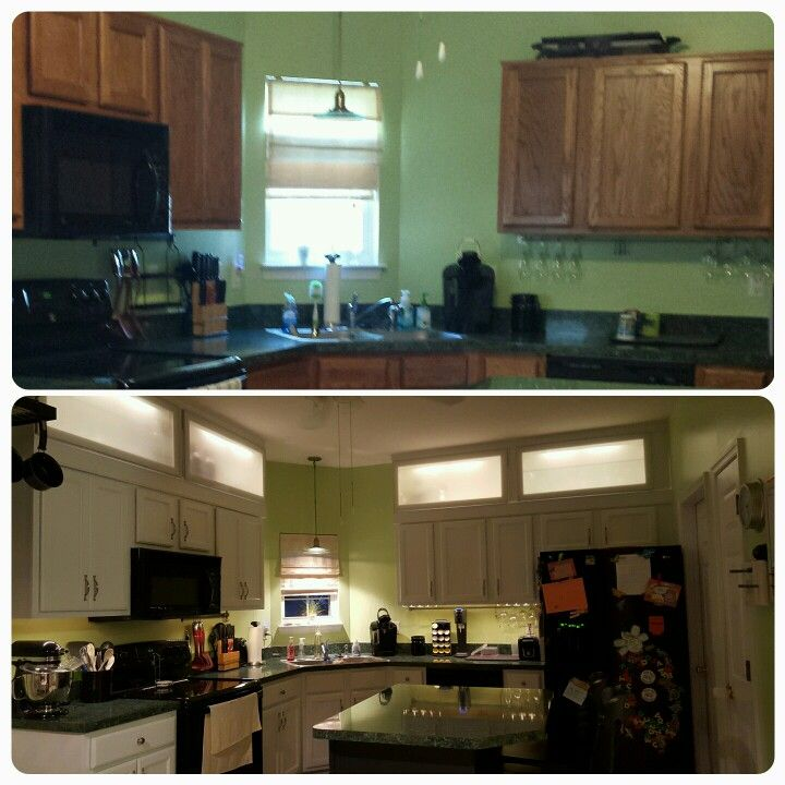 Kitchen remodel builder grade cabinets painted white and - Builder grade oak kitchen cabinets ...