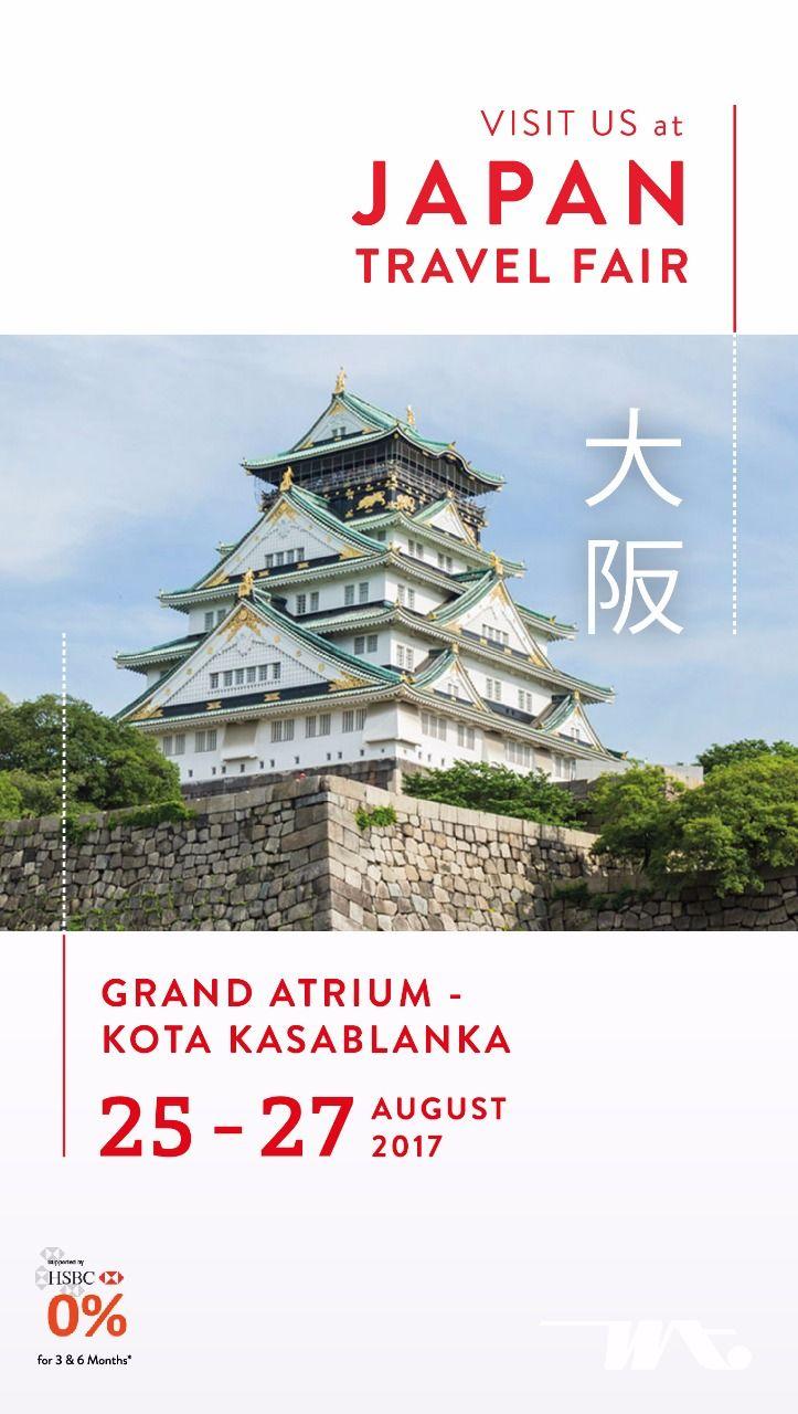 Nikmati perjalanan liburan menyenangkan dengan menjelajahi keindahan negeri matahari terbit, Jepang. Nantikan penawaran spesial tiket, tour dan paket berlibur di Jepang. Kunjungi kami di Japan Travel Fair, Grand Atrium-Kota Kasablanka, 25-27 Agustus 2017