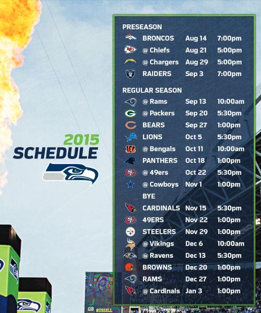 Seattle Seahawks Schedule: 25+ Best Ideas About Seahawks Schedule 2015 On Pinterest