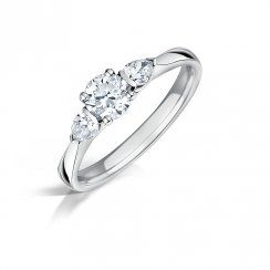 Round Brilliant & Pear Shaped Diamond Three Stone Ring. Trilogy Engagement ring