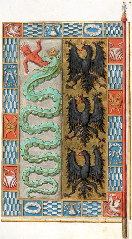 Bannière de Maximilien Sforza, comte de Pavie (f°019r) -- Le livre de drapeaux de Fribourg (Fahnenbuch/Book of Flags) de Pierre Crolot, 1648, Fribourg.