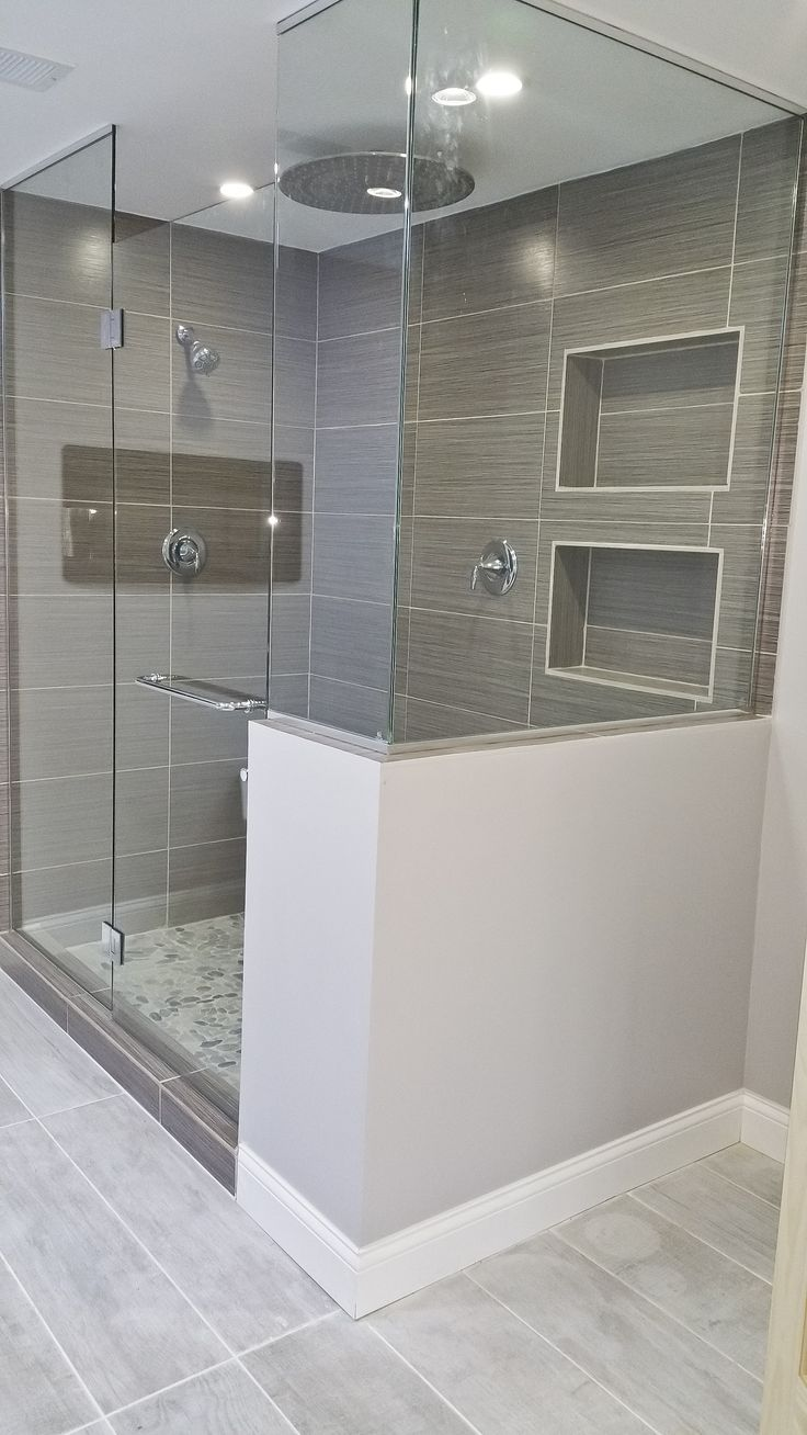 Bathroom showers head - We Upgraded This Style Bathroom To A Modern Design Features Heated Flooring Led Lighting Fireplace Stand Alone Tub Walk In Shower Waterfall Shower Head