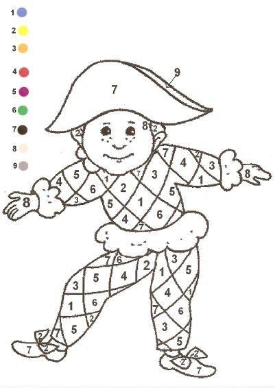 Gabarit - Coloriage magique arlequin carnaval mardi gras 17 février                                                                                                                                                                                 Plus