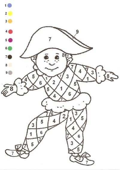 Gabarit - Coloriage magique arlequin carnaval mardi gras 17 février