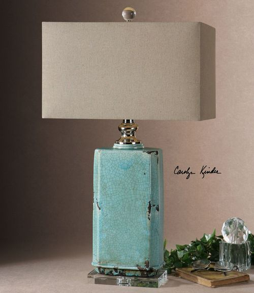Turquoise Crackle Table Lamp