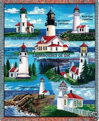 """""""Pacific Northwest Lighthouses Throw"""" This colorful cotton throw, woven on Jacquard looms, depicts famous landmark lighthouses of the U.S. Pacific Northwest. This makes a wonderful gift for the lighth"""