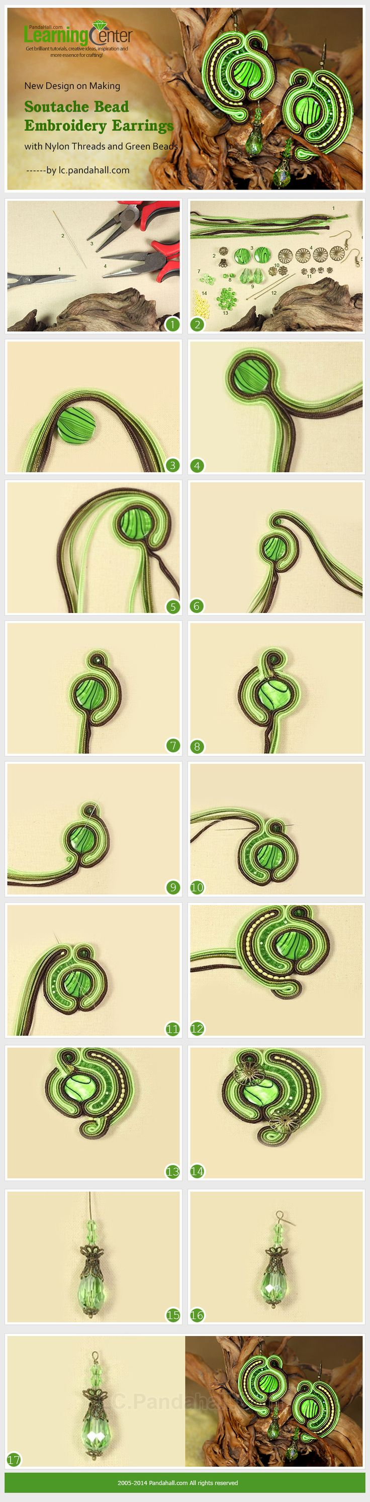 New Design on Making Soutache Bead Embroidery Earrings with Nylon Threads and Green Beads