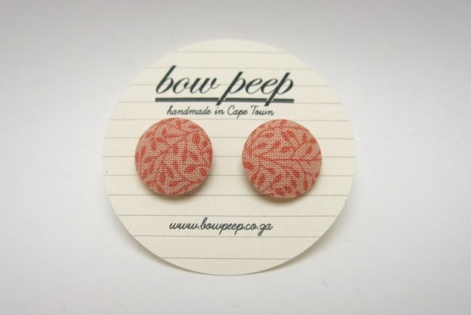 coral floral button earrings by Bow Peep on hellopretty.co.za