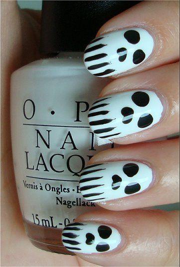 Skull Nails: Nails Art Tutorials, Nailart, Nails Design, Ghosts, Black Nails, Nails Polish, Spooky Halloween, Skull Nails Art, Halloween Nails