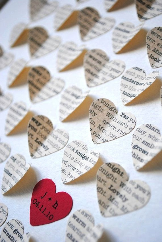 First Anniversary Gift, Personalized 3D Hearts - made with song lyrics, love letter, or vows (Unique wedding present) via Etsy