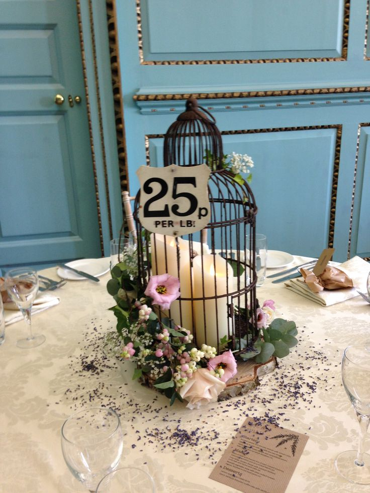 Quirky birdcage tablecentre with flowers wired on