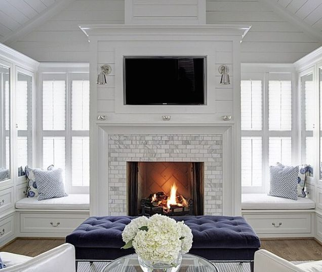 White Fireplace With Windows On All Sides Amazing