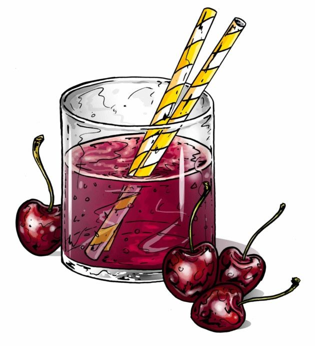 Tart cherry juice - Healthy Breakfasts - an illustration for Cycling Plus magazine.