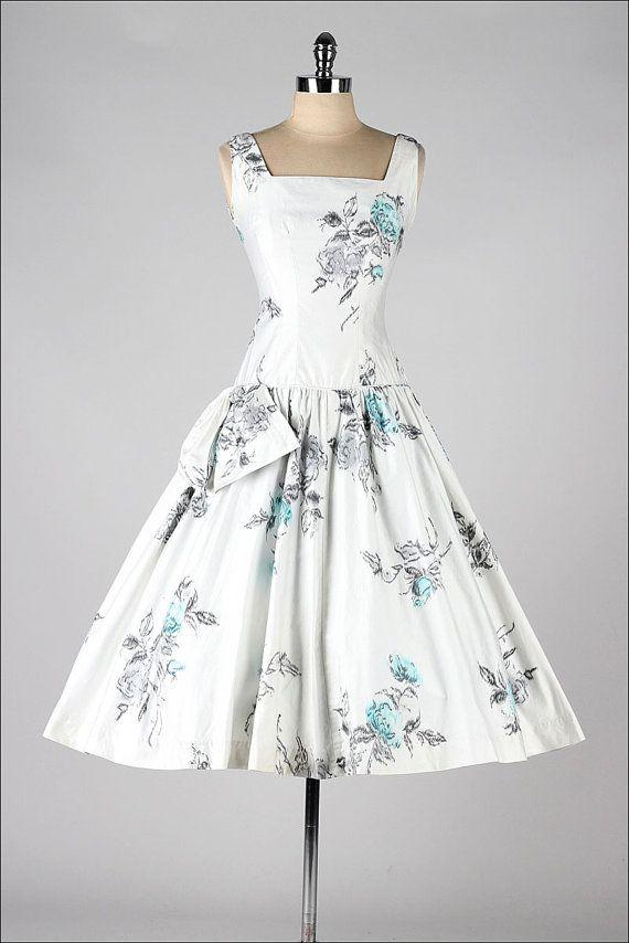 vintage 1950s dress . floral cotton . sequins by millstreetvintage