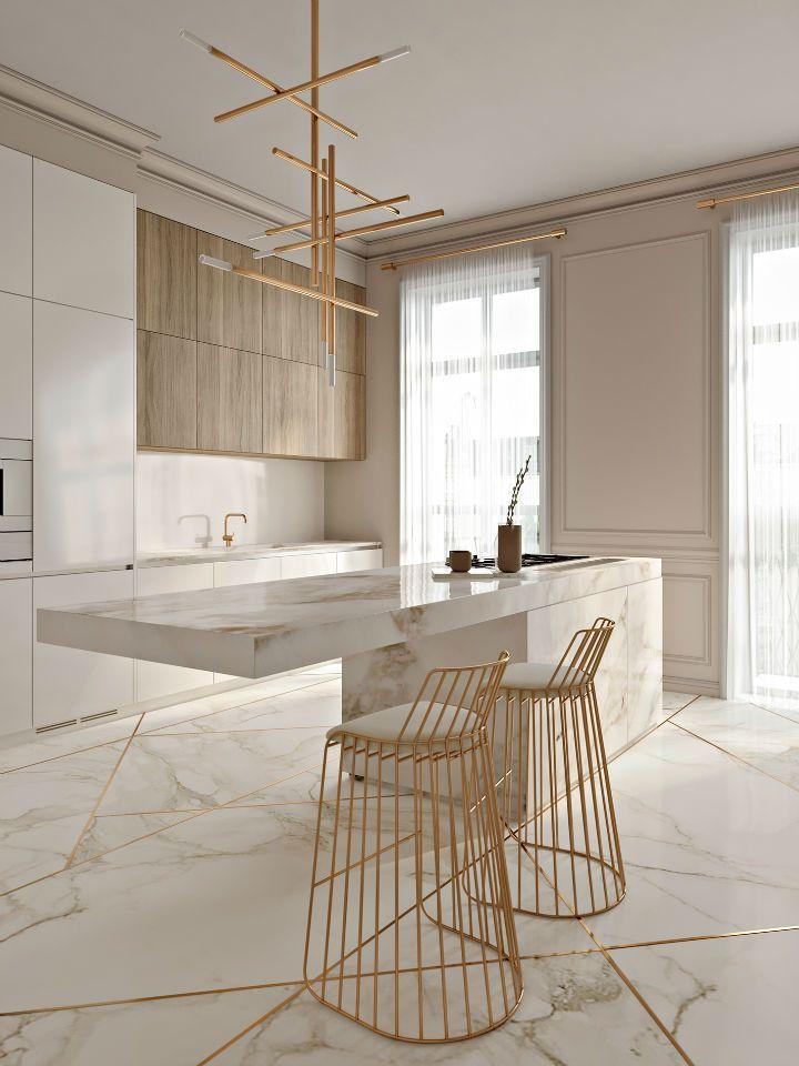 Atemberaubende Elegante Küche Mit Gold Berührt