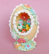 Sugar Easter eggs-  My Grandma used to get me one every easter. I was always so fascinated by the intricate little scenes inside. :)