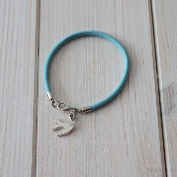 Niebieska bransoletka skóra kot - Bransoletki - Biżuteria artystyczna