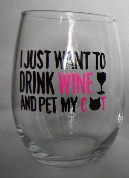 I Just Want to Drink Wine and Pet my Cat Hand Painted Stemless Wine Glass is such a cute gift!  I get such a great response from customers when I bring this gift with me to wine tasting events and craft shows.  People love the phrase because God do we love our pets!  It's a fun gift to give to friends and family.  Yours will be shipped to you in a clear gift box. #theWoodlandRoseGarden #Cats #Wine