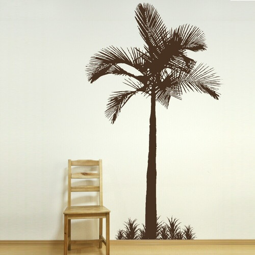 Details about palm tree tropical beach wall sticker huge for Plage stickers uk