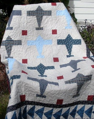 vintage airplane nursery | Vintage Style Airplane Lap Quilt | onebeelane - Quilts on ArtFire