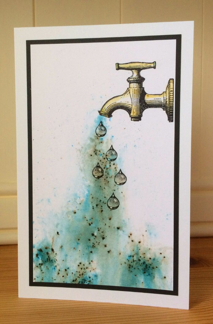 Hello again! As soon as I saw this Carabelle Studio tap stamp, I knew I had to use it with the beautiful water droplets from Designs by Ryn...