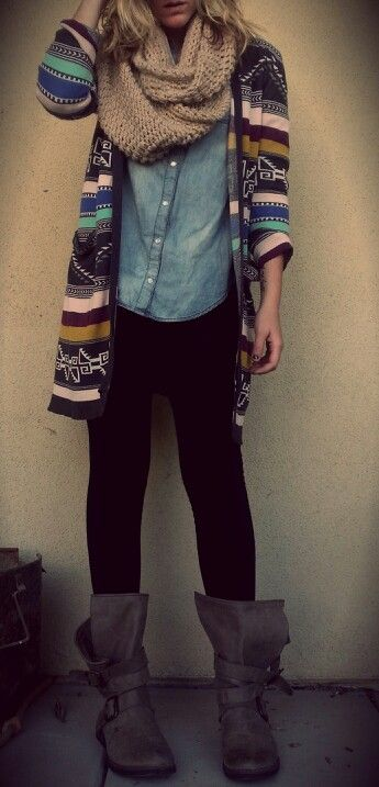 Winter outfit. Aztec cardigan, infinity scarf, black leggings, boots. #winter #outfit #aztec