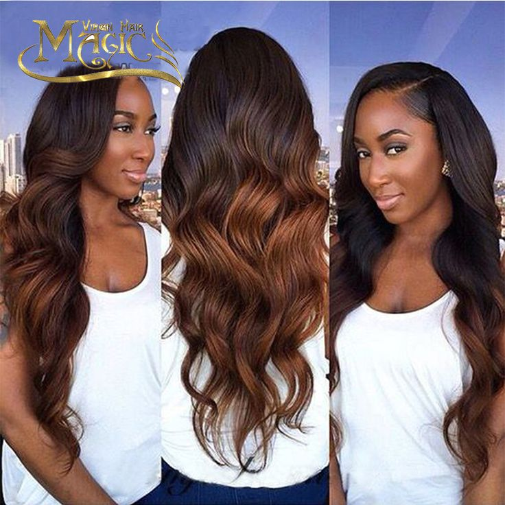 Super Wavy Full Lace Human Hair Wigs Ombre for Black Women 100% Virgin Brazilian Two Tone Ombre  Color Lace Front Wavy Wig