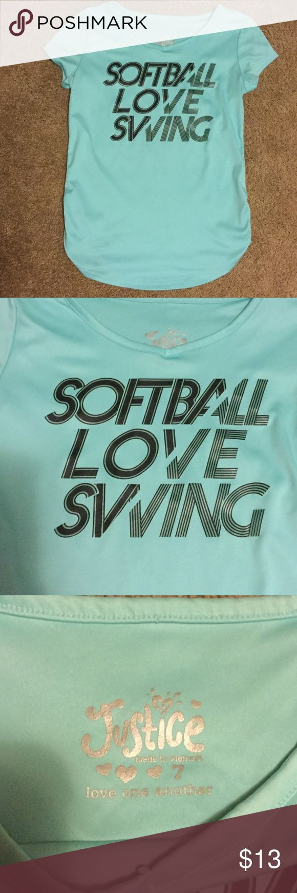 Justice Softball Love Swing Girls Size 7 Shirt Justice Softball Love Swing Girls Size 7 Short Sleeve Shirt. Purchased at justice. Tags removed but never worn. From a pet free and smoke free home. Justice Shirts & Tops Tees - Short Sleeve