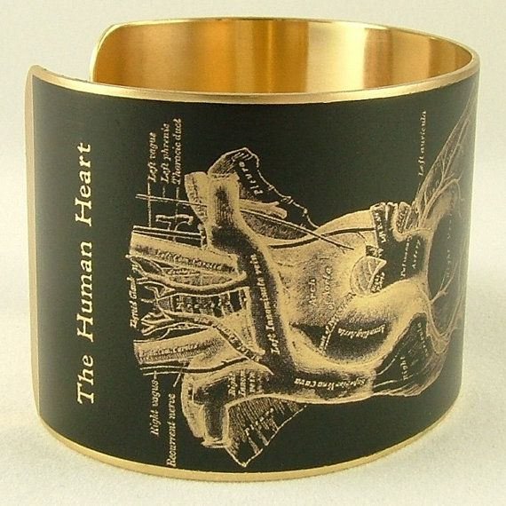 Anatomical Heart Brass Cuff Bracelet - Cardiology Doctor Jewelry - Medical Human Heart Diagram on Etsy, $40.00