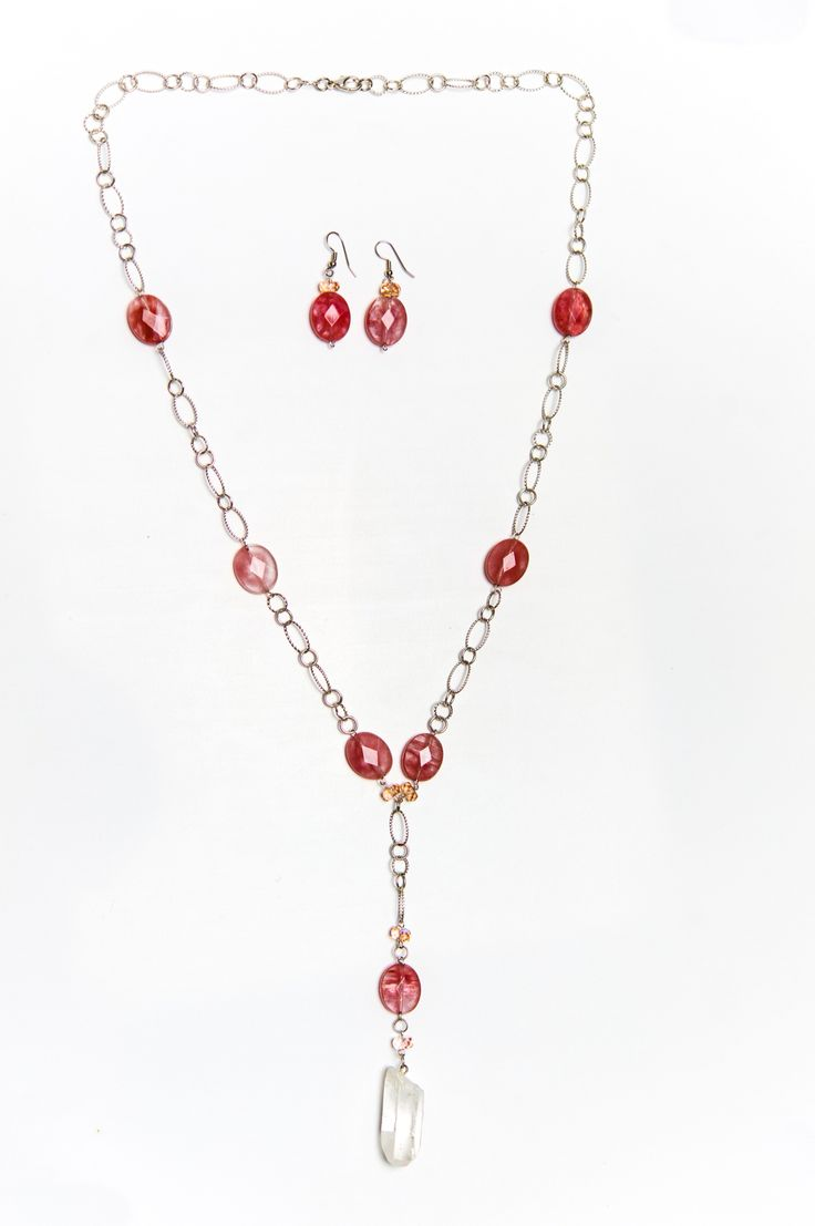 Pink Oval Bead Earrings With Matching Necklace