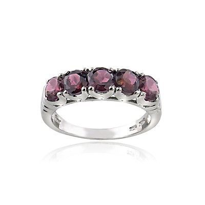 925 Sterling Silver 1.65 Ct Garnet Half Eternity Band Ring