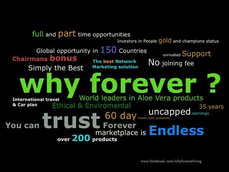 WHY Forever? For more information send me an email at uzmachhaya@flp.com or add me as friend on Facebook - Uzma Chhaya