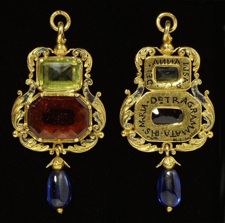 Pendant Unknown maker England 1540 - 1560 Enamelled gold, set with a hessonite garnet and a peridot, and hung with a sapphire © Victoria and Albert Museum, London
