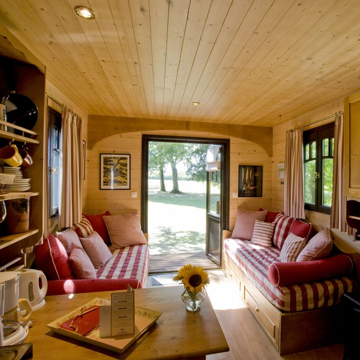 Gypsy caravans like these are offered in over 50 locations within France. They cater to vacationing Europeans, but tiny house lovers can get a lot of ideas on how to live luxuriously in a small space with these beautiful photos.