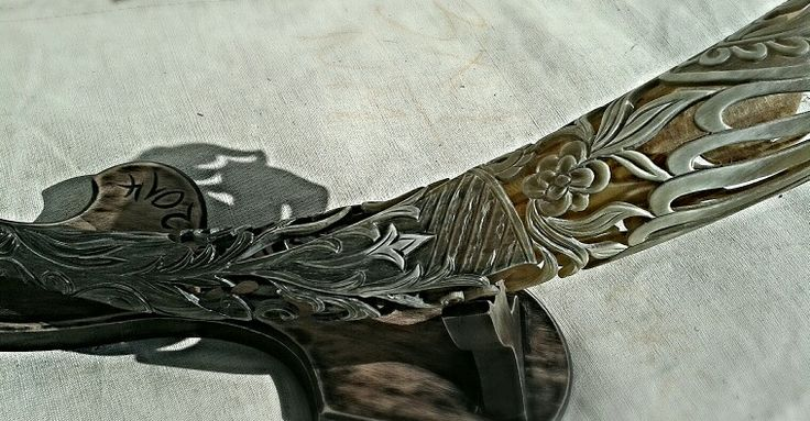 Decorative Hungarian gray cattle horn horns of unique carvings, Tibor Smith, Sculptor