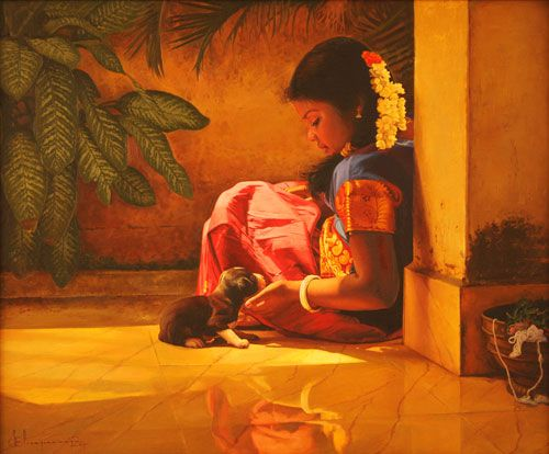 Tamil girl playing with her pet Puppy - Painting by S. Elayaraja
