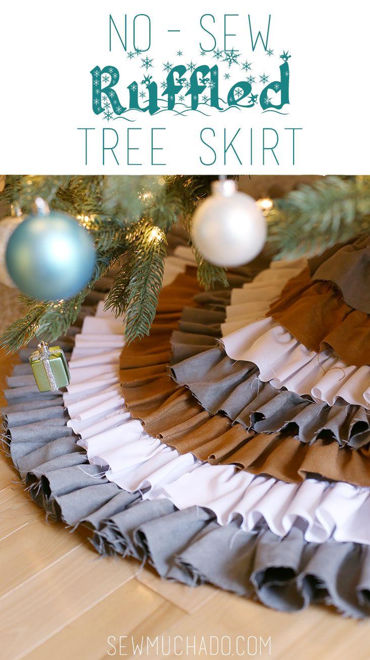 No Sew Ruffle Tree Skirt - love this easy shabby chic Christmas tree skirt!