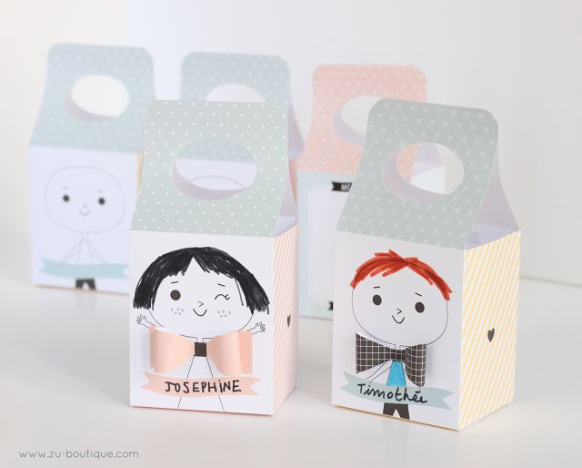 Cute boy and girl boxes