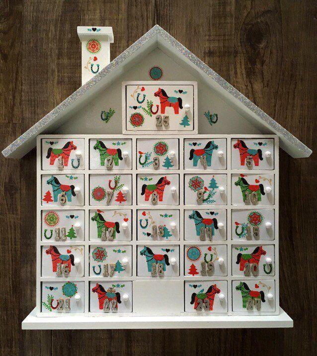 Handmade Christmas Wooden Advent Calendar With Decoupaged Scandinavian Style Christmas Gift Decorations Christmas Cards Handmade Handmade Christmas Decorations