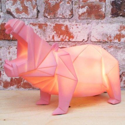 Pink Hippo Lamp - funky animal desk lamp - Disaster Designs