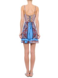 Vestido Lenço Mediterrâneo - Farm - Azul  - Shop2gether