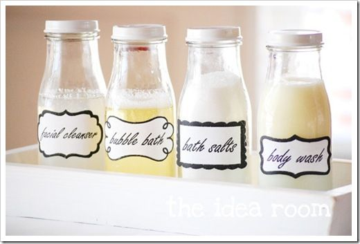 DIY Labeled Bathroom JarsGuest Bathroom, Printable Labels, Bathroom Jars, Jars Labels, Diy Bathroom Ideas, Printables Labels, Cleaning Recipe, Crafts, Starbucks Bottle