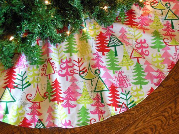 Christmas Tree Skirt, Pink and Green Tree Skirt, Whimsical Tree Skirt, Funky Christmas, Mod Christmas Decor, Contemporary Christmas