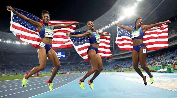 Brianna Rollins, Nia Ali, and Kristi Castlin — Olympians on Team USA — swept the…