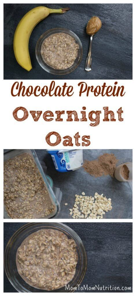 A 5-ingredient recipe for chocolate protein overnight oats makes one healthy, protein-packed recipe for breakfast or snacking! /MomNutrition/